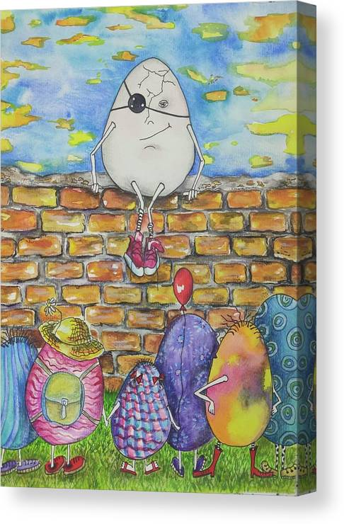 Easter Canvas Print featuring the painting Easter Humpty by Eve Farber