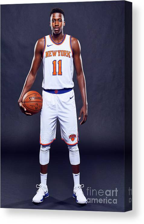 Media Day Canvas Print featuring the photograph Frank Ntilikina by Jennifer Pottheiser