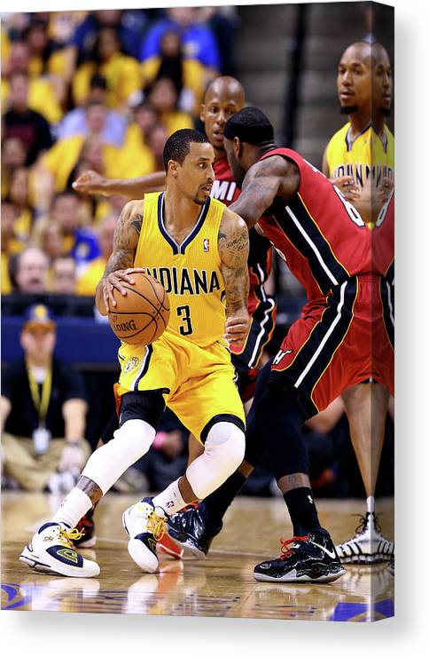 Playoffs Canvas Print featuring the photograph George Hill and Lebron James by Andy Lyons