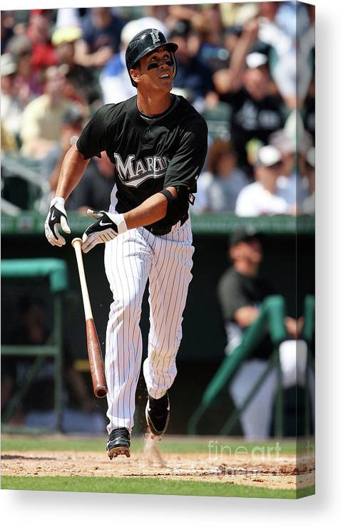American League Baseball Canvas Print featuring the photograph Giancarlo Stanton by Doug Benc