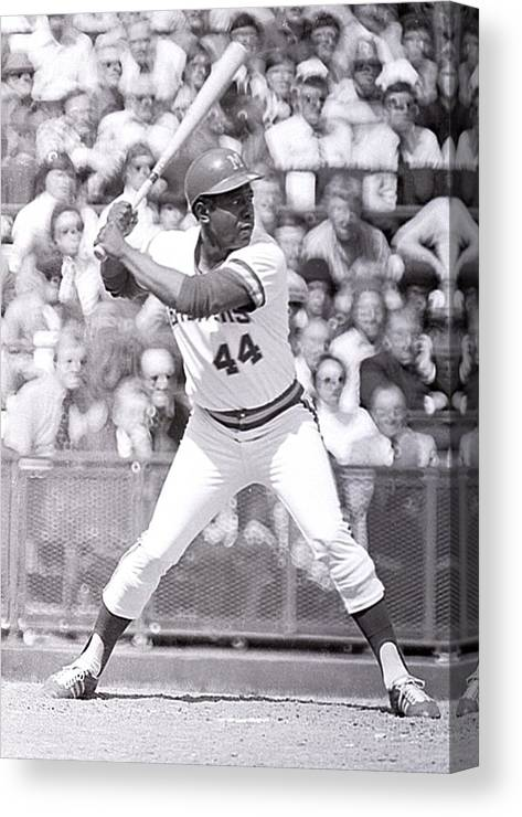 American League Baseball Canvas Print featuring the photograph Hank Aaron by Ronald C. Modra/sports Imagery