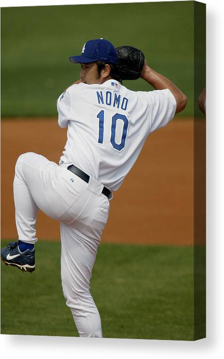 Only Japanese Canvas Print featuring the photograph Hideo Nomo by Eliot J. Schechter