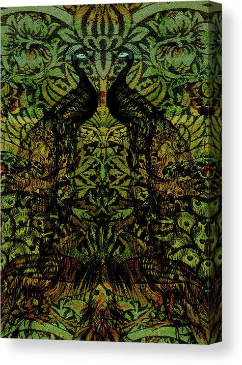 Peafowls Canvas Print featuring the digital art Indian Blue Peafowl Pattern by Sarah Vernon