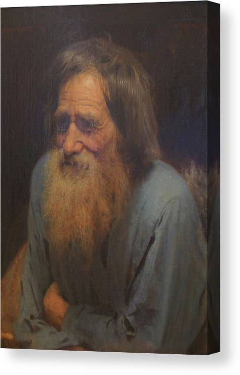 Ivan Kramskoy Canvas Print featuring the painting Ivan Mina Moiseev Sun by Ivan Kramskoy