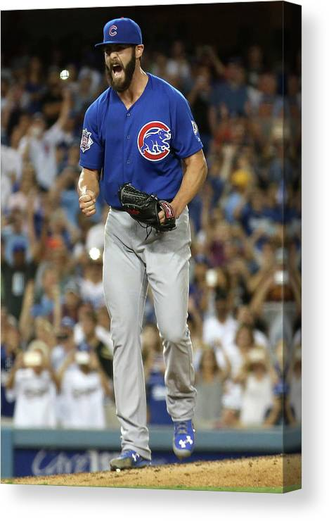 People Canvas Print featuring the photograph Jake Arrieta by Stephen Dunn