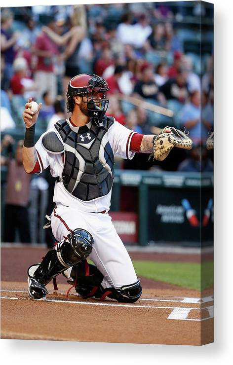Baseball Catcher Canvas Print featuring the photograph Jarrod Saltalamacchia by Christian Petersen