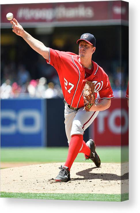 Second Inning Canvas Print featuring the photograph Jordan Zimmermann by Denis Poroy