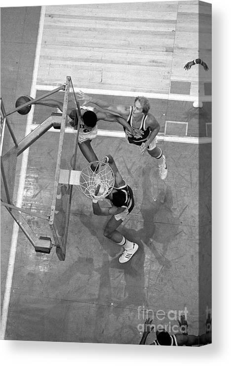 Playoffs Canvas Print featuring the photograph Julius Erving and Kareem Abdul-jabbar by Jim Cummins