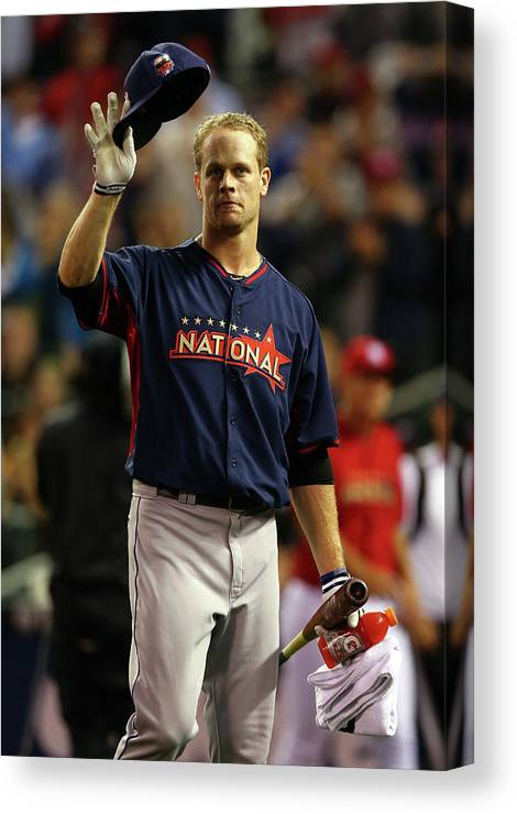 Crowd Canvas Print featuring the photograph Justin Morneau by Elsa