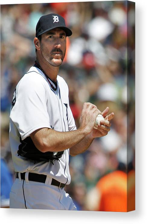 Working Canvas Print featuring the photograph Justin Verlander and Juan Francisco by Duane Burleson