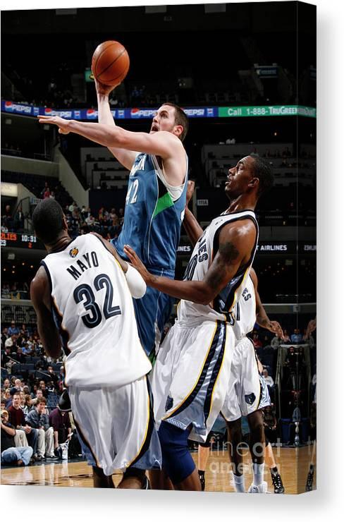 Nba Pro Basketball Canvas Print featuring the photograph Kevin Love, O.j. Mayo, and Darrell Arthur by Joe Murphy