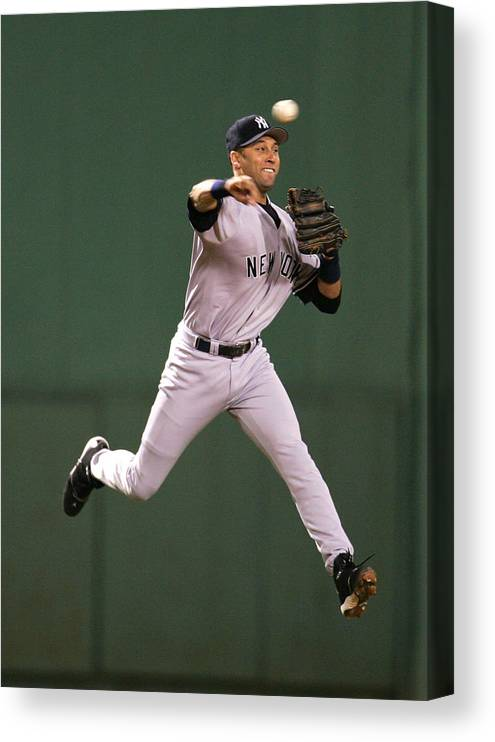 People Canvas Print featuring the photograph Kevin Millar and Derek Jeter by Al Bello
