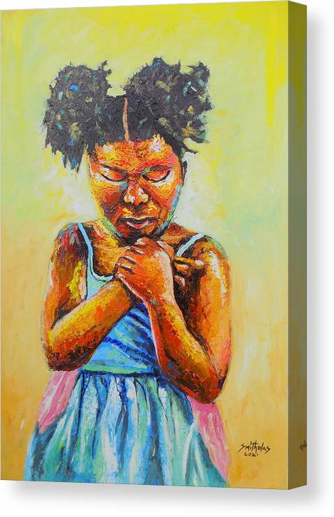 Orange Canvas Print featuring the painting Let's Pray by Olaoluwa Smith