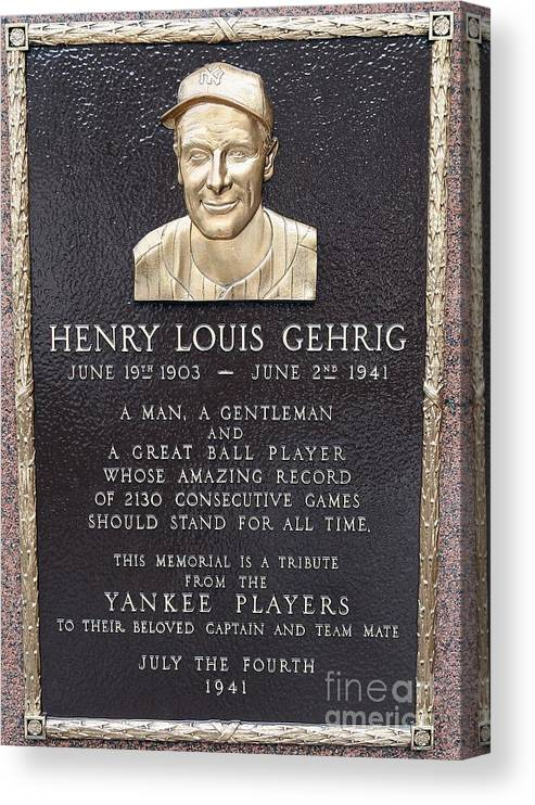 American League Baseball Canvas Print featuring the photograph Lou Gehrig by Jim Mcisaac