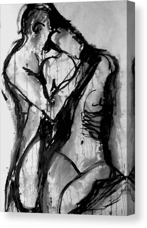 Couple Canvas Print featuring the painting Love Me Tender by Jarmo Korhonen aka Jarko