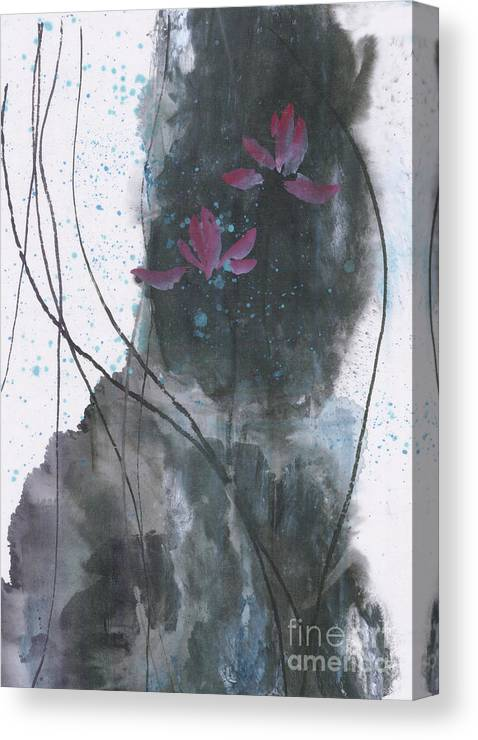 Lotus Emerged Out Of The Sludge Canvas Print featuring the painting Lovely Lotus by Mui-Joo Wee