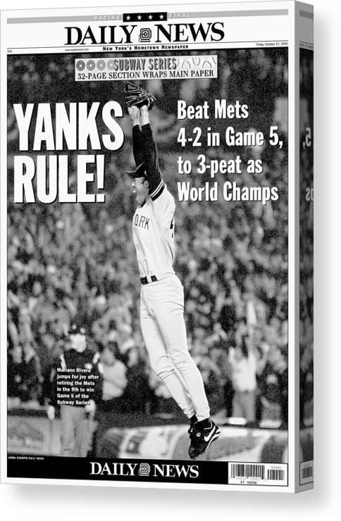 American League Baseball Canvas Print featuring the photograph Mariano Rivera by New York Daily News Archive