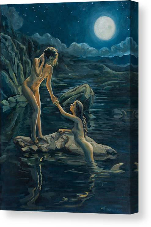 Moon Canvas Print featuring the painting Moonlight flame by Marco Busoni