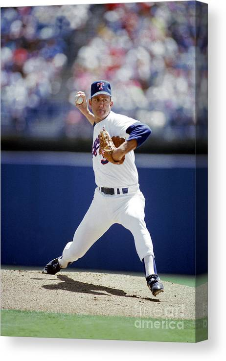 1980-1989 Canvas Print featuring the photograph Nolan Ryan by Louis Deluca
