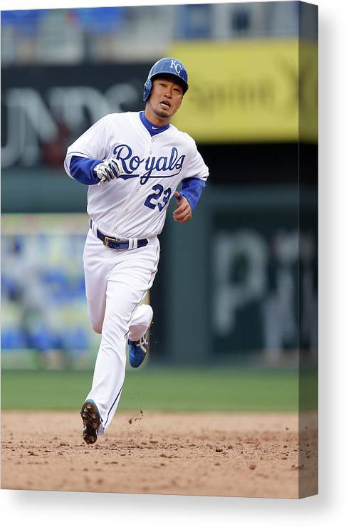 American League Baseball Canvas Print featuring the photograph Omar Infante by Ed Zurga
