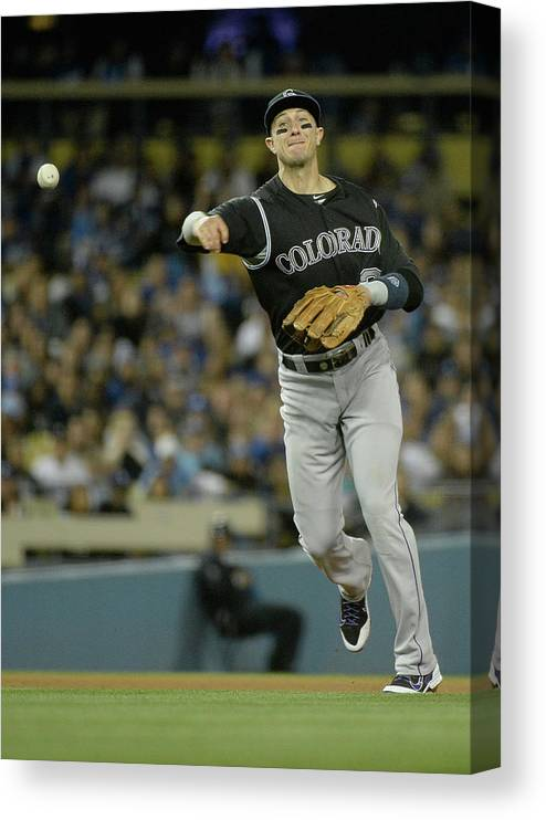 California Canvas Print featuring the photograph Paul Maholm and Troy Tulowitzki by Harry How