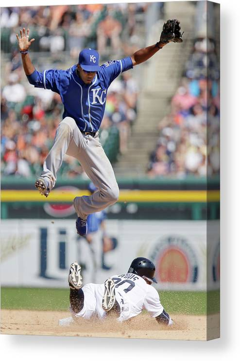 People Canvas Print featuring the photograph Rajai Davis and Alcides Escobar by Duane Burleson