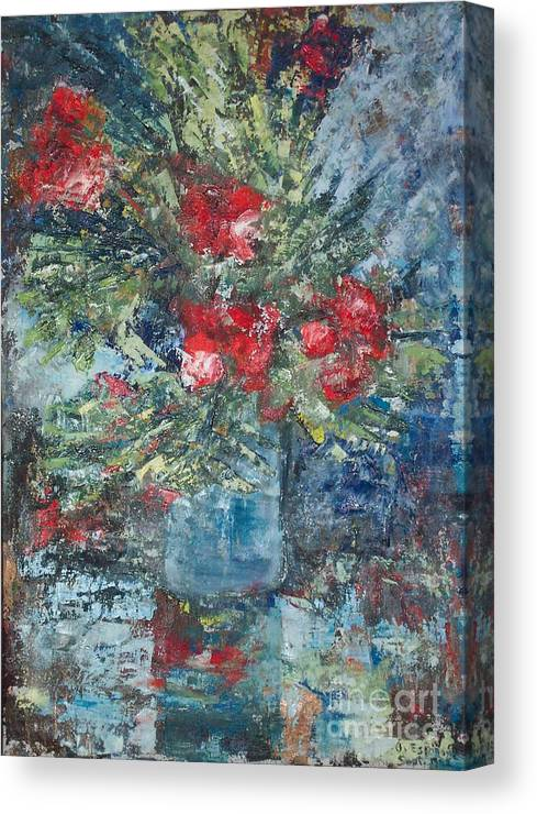 Bouquet Canvas Print featuring the painting Red Flowers - SOLD by Judith Espinoza