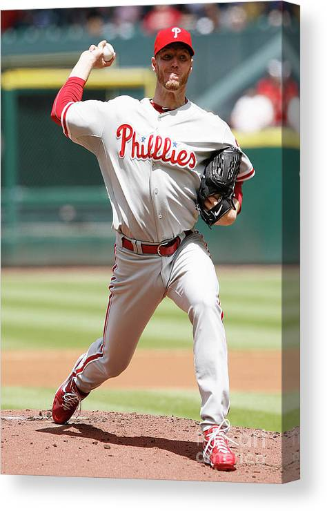 Minute Maid Park Canvas Print featuring the photograph Roy Halladay by Bob Levey