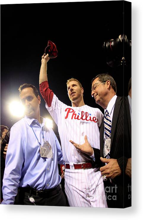 Crowd Canvas Print featuring the photograph Roy Halladay by Chris Trotman