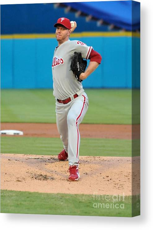 People Canvas Print featuring the photograph Roy Halladay by Robert Vigon/florida Marlins