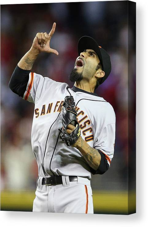 Relief Pitcher Canvas Print featuring the photograph Sergio Romo by Christian Petersen