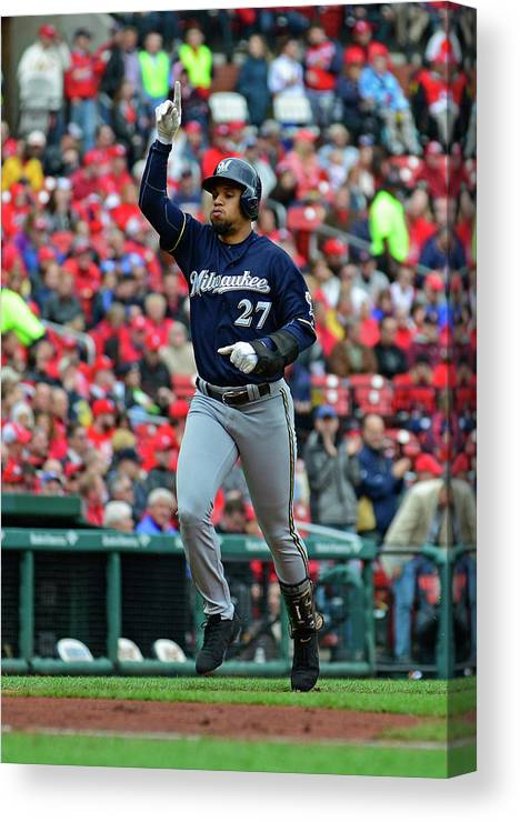 Thank You Canvas Print featuring the photograph Shelby Miller and Carlos Gomez by Jeff Curry