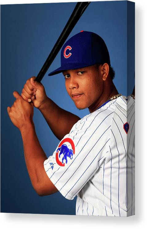 Media Day Canvas Print featuring the photograph Starlin Castro by Jamie Squire