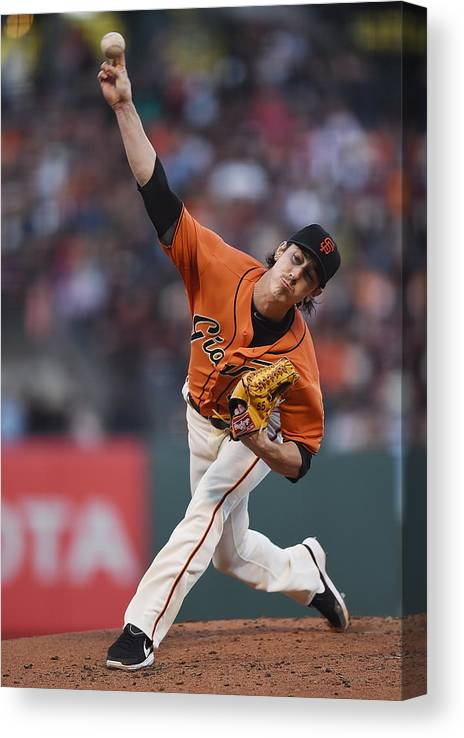 San Francisco Canvas Print featuring the photograph Tim Lincecum by Thearon W. Henderson