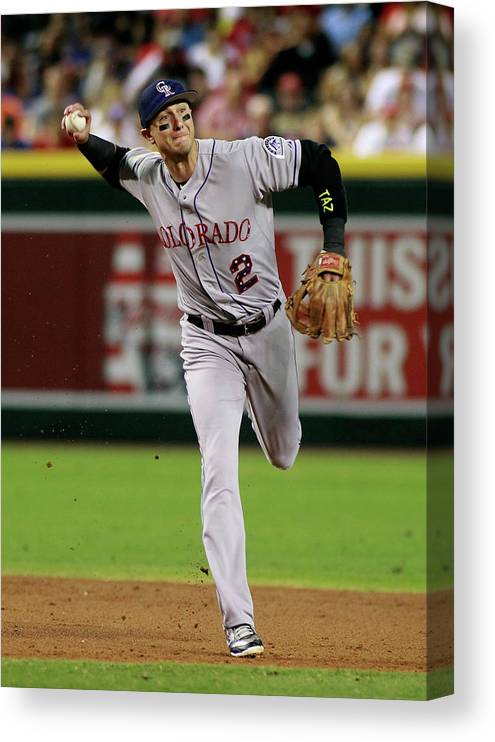 Second Inning Canvas Print featuring the photograph Troy Tulowitzki by Ralph Freso