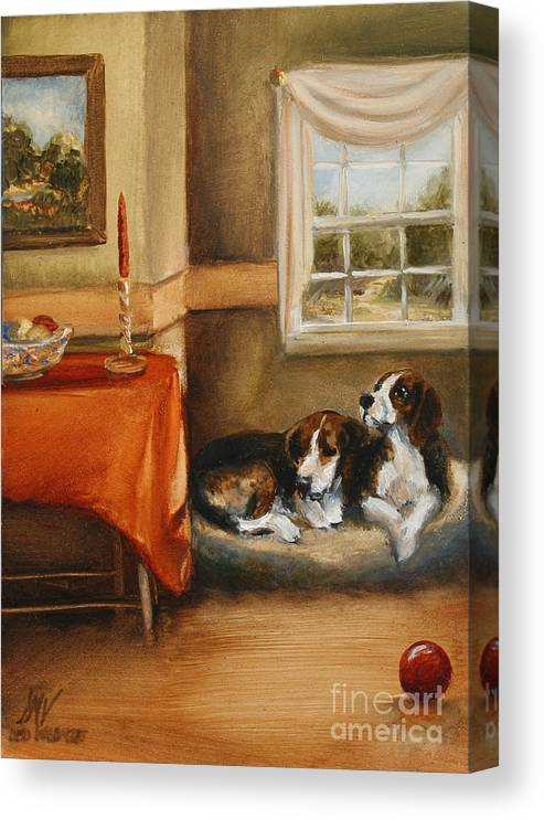 Beagle Canvas Print featuring the painting Waiting For The Mistress by Stella Violano