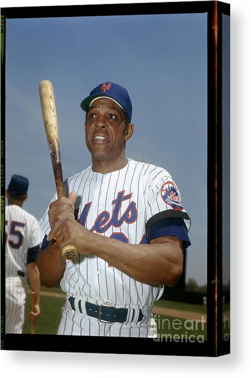 Sports Bat Canvas Print featuring the photograph Willie Mays by Louis Requena