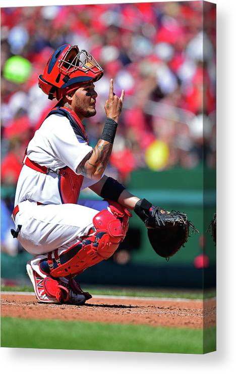 St. Louis Cardinals Canvas Print featuring the photograph Yadier Molina by Jeff Curry