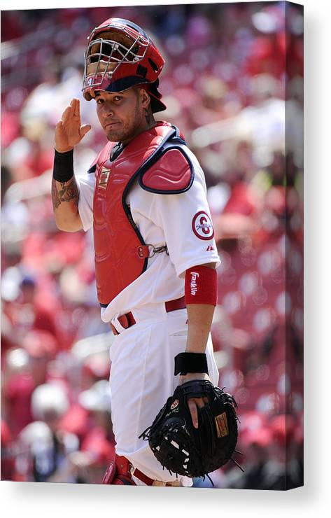 St. Louis Cardinals Canvas Print featuring the photograph Yadier Molina by Ron Vesely
