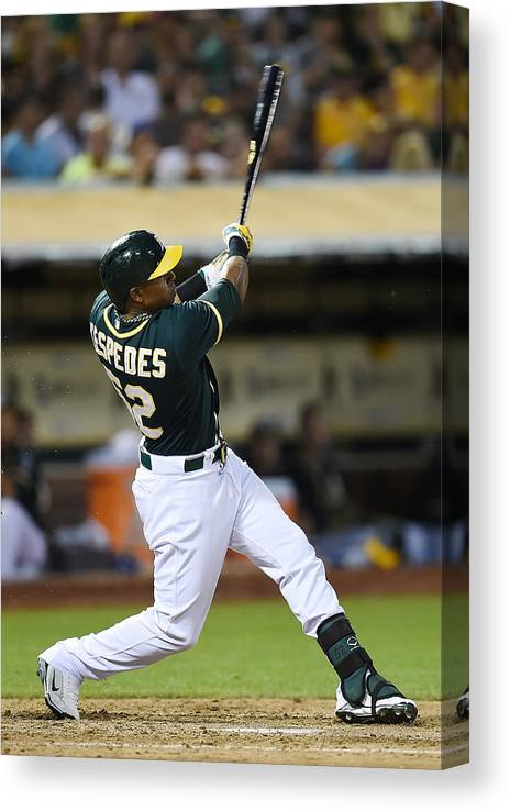 Yoenis Cespedes Canvas Print featuring the photograph Yoenis Cespedes and John Jaso by Thearon W. Henderson