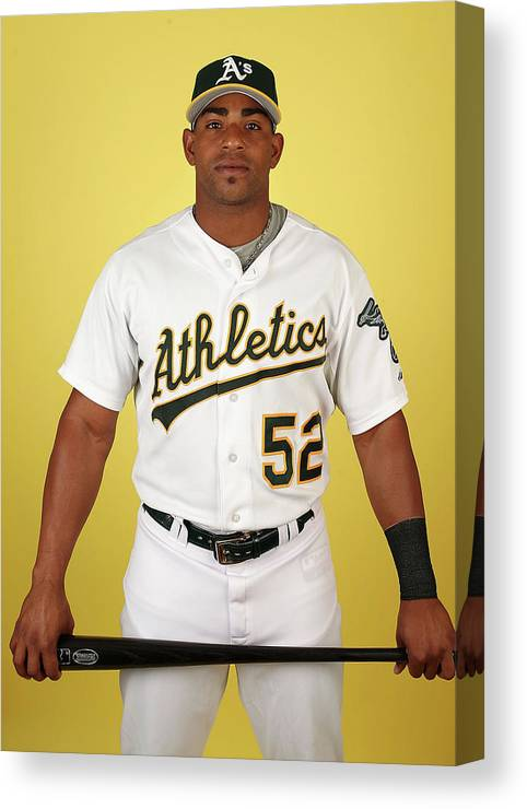 Media Day Canvas Print featuring the photograph Yoenis Cespedes by Christian Petersen