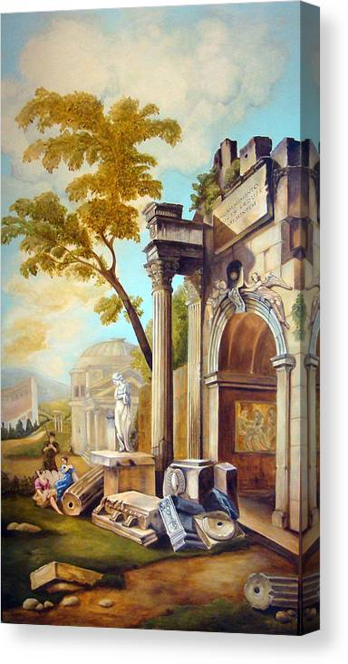 Italian Ruins Canvas Print featuring the painting Classical Ruins by Teresa Carter