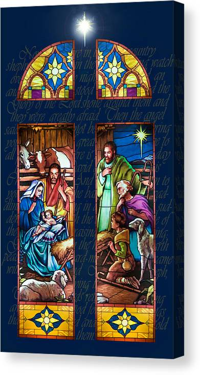 Christmas Card Canvas Print featuring the painting The Nativity by Jean Hildebrant