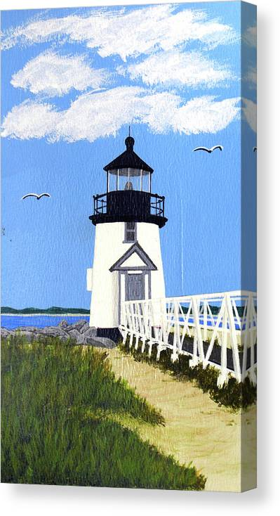 Lighthouse Canvas Print featuring the painting Brant Point Lighthouse Painting by Frederic Kohli