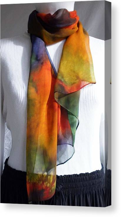 Scarf Canvas Print featuring the painting Hand Dyed Silk Scarf by Linda Marcille
