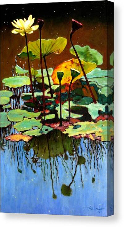 Lotus Flower Canvas Print featuring the painting Lotus In July by John Lautermilch
