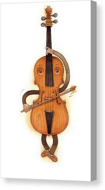 Violin Music Baroque Classical Canvas Print featuring the painting Stradivarius Violin by Kestutis Kasparavicius