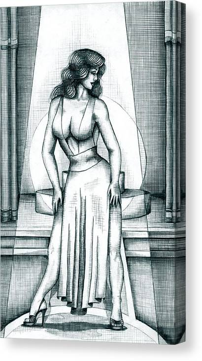 Figure Canvas Print featuring the drawing The Performer by Scarlett Royal
