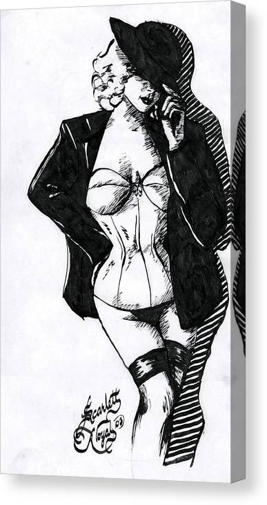 Dancer Canvas Print featuring the drawing The Tease by Scarlett Royal