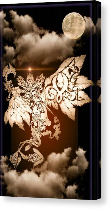 Fantasy Landscape Canvas Print featuring the drawing Transcending Angel by Louis Williams
